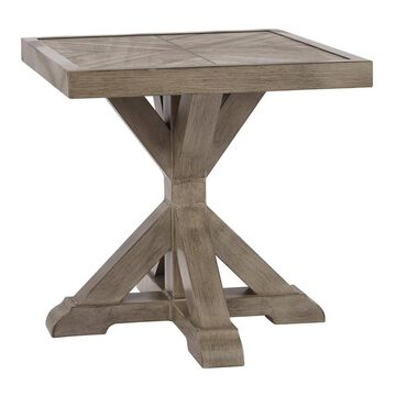 Square Aluminum End Table with Cross Pedestal Base Brown - Benzara