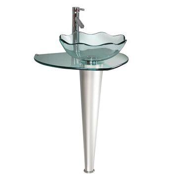 Fresca Netto Glass Stainless Steel Vessel Round Bathroom Sink (20-in x 24-in) in Clear