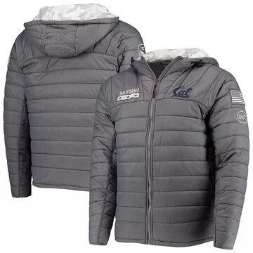 Men's Colosseum Gray/Camo Cal Bears OHT Military Appreciation Iceman Snow Puffer Full-Zip Hoodie Jacket, Size: Medium, CAL Grey