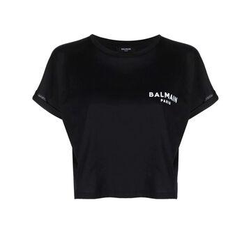 Balmain Black Cotton Cropped T-shirt