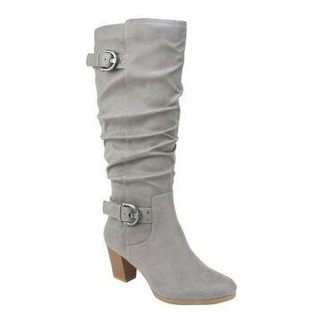 Rialto Women's Farewell Tall Boot Light Grey Suedette Fabric