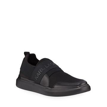 Men's Logo-Strap Neoprene Slip-On Sneakers