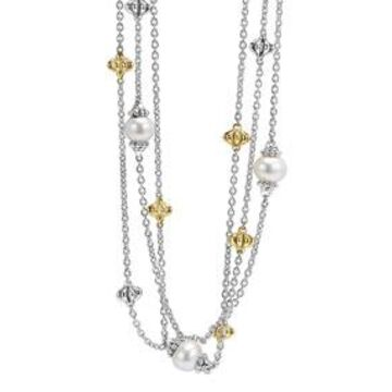 Luna Birdcage Three-Strand Pearl Station Necklace