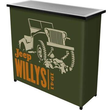 Portable Bar-Collapsible Indoor Outdoor, Pop-Up Drink Station with Jeep Willys Green-Patio, Garage or Man Cave Accessories