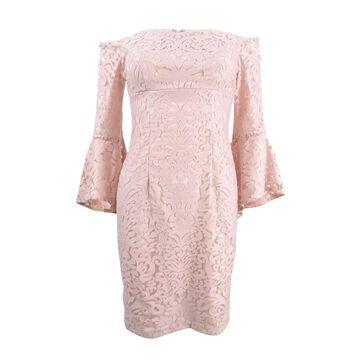 Xscape Women's Lace Off-The-Shoulder Bell-Sleeve Dress