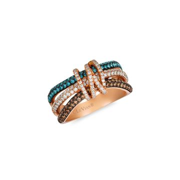 Le Vian Exotics 14K Strawberry Gold, Chocolate Diamonds, Ice Blue Diamonds & Vanilla Diamonds Ring