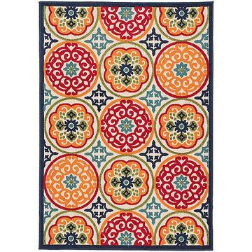 Tela Indoor / Outdoor Medallion Area Rug by Jaipur - Color: Red (RUG141403)