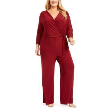 Ny Collection Plus Size Surplice Jumpsuit