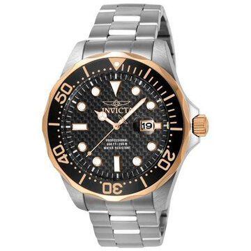 Invicta Men's 12567 Pro Diver Black Carbon Fiber Dial Stainless Steel Watch