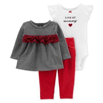 Baby Girls 3-Pc. Ruffled Top, Love My Mommy Bodysuit & Leggings Set