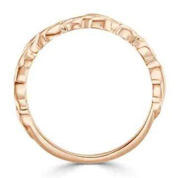 Auriya Stackable Leaf carved Ultra-Thin Wedding Band 10k Gold (Rose - 7.5)