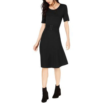 maison Jules Womens Belted Fit & Flare Dress