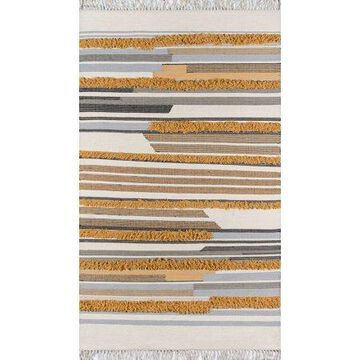 Novogratz by Momeni Indio Feliz Wool Hand Made Mustard Area Rug 5' X 7'