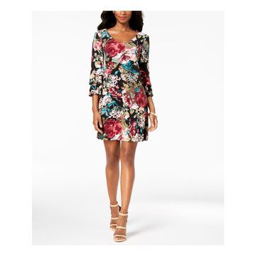 CONNECTED APPAREL Womens Black Floral Printed Tiered Bell Sleeve V Neck Above The Knee Party Dress Petites Size: 6