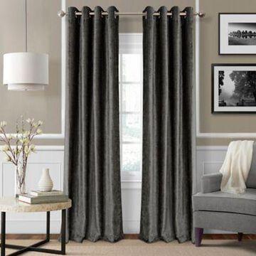 Elrene Victoria 84-Inch Room-Darkening Grommet Top Window Curtain Panel in Smoke