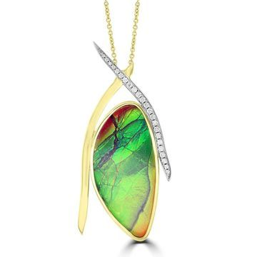 La Vita Vital 14k Yellow Gold 31ct TGW Ammolite and 1/4ct TDW Diamond Necklace