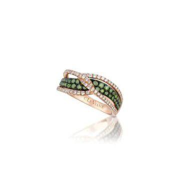 Women Le Vian Exotics Ring With Green Diamonds And Vanilla Diamonds Set In 14K Strawberry Gold