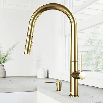 VIGO Greenwich Matte Gold 1-Handle Deck-Mount Pull-Down Handle Kitchen Faucet | VG02029MGK2