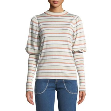 Striped Bishop-Sleeve Knit Sweater