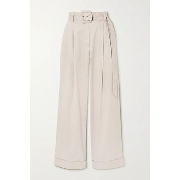 Brunello Cucinelli - Belted Bead-embellished Pleated Cotton-blend Twill Wide-leg Pants - Ivory