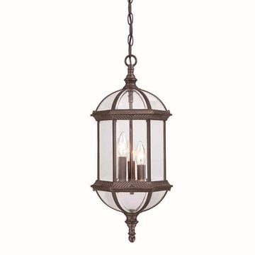 Acclaim Lighting Dover Burled Walnut Single Traditional Beveled Glass Lantern Pendant Light