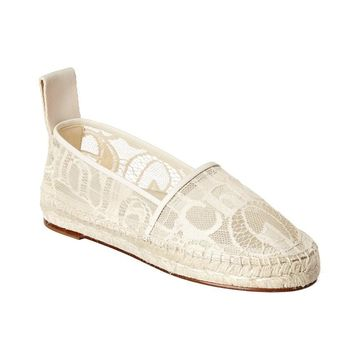 Chloe Woody Leather-Trim Espadrille