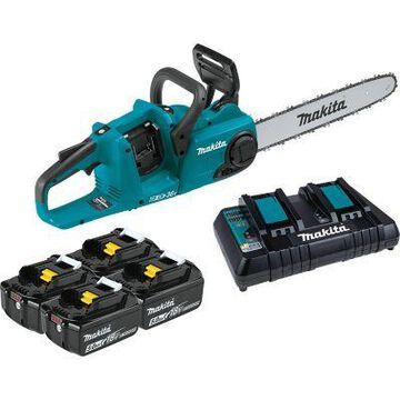 Makita 18V X2 36V LXT Lithium-Ion Brushless Cordless 16 in. Chain Saw Kit with 4 Batteries, XCU04PT1