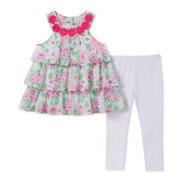 Little Girls 2-Pc. Floral-Print Tunic & Leggings Set