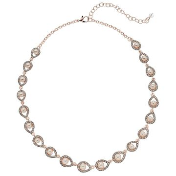 Napier Rose Gold Crystal & Pearl Necklace