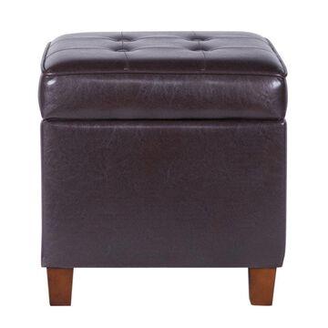 Benzara Modern Brown Faux Leather Storage Ottoman | BM194129