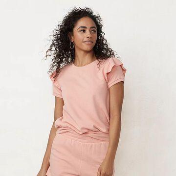 Petite LC Lauren Conrad Ruffled Puff Sleeve Top, Women's, Size: Medium Petite, Lt Orange