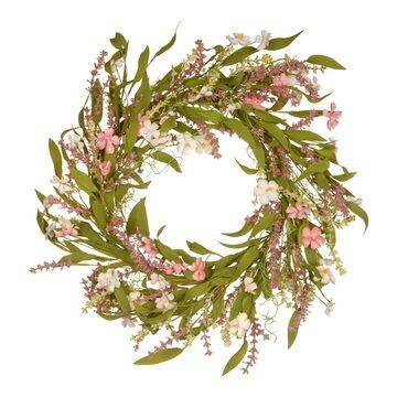 National Tree Company Artificial Pink Spring Flowers Wreath