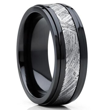 Oliveti Black Zirconium and Real Muonionalusta Meteorite Inlay Wedding Band Ring 8mm Comfort Fit