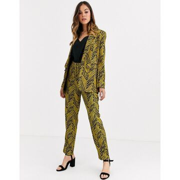 Liquorish suit pants two-piece in gold and black abstract print-Multi