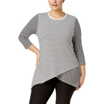 Calvin Klein Performance Womens Plus Striped Workout Pullover Top