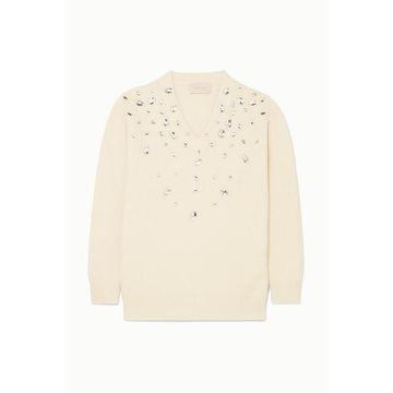 Christopher Kane - Oversized Crystal-embellished Cashmere And Silk-blend Sweater - Cream
