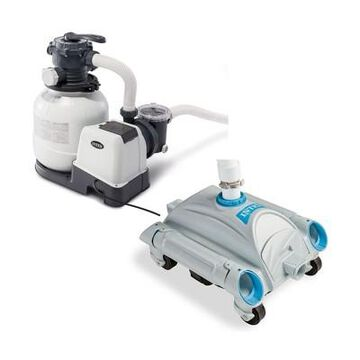 Intex 2100 GPH Above Ground Pool Sand Filter Pump w/ Automatic Pool Vacuum