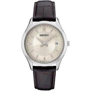 Seiko Women's Essential Brown Leather Strap Watch 30mm