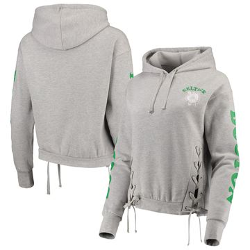 Boston Celtics Junk Food Women's Laces Pullover Hoodie Heathered Gray