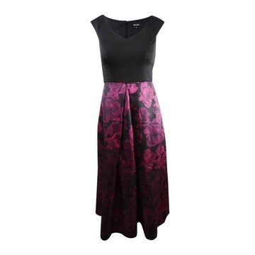 SL Fashions Women's Printed Satin Gown - Black/Magenta