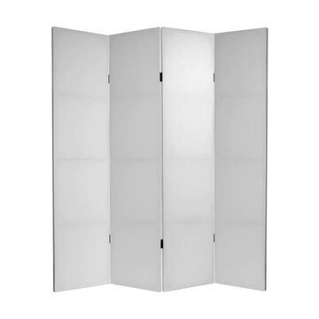 Oriental Furniture 4-Panel Blank Canvas Fabric Folding Contemporary/Modern Style Room Divider Cotton in White | CV-6BLANK-4P