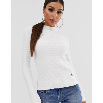 G-Star mock neck knit sweater-White