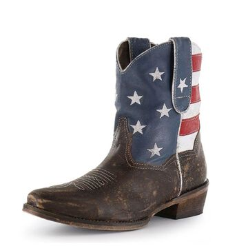 Roper Western Boots Womens Ankle USA Flag Brown