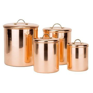 Old Dutch Polished Copperplated Stainless Steel 4-piece Canister Set
