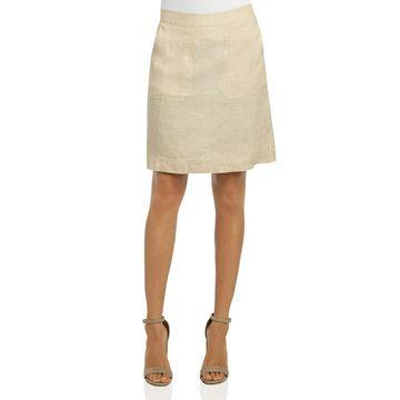Foxcroft Womens Linen Patch-Pocket Pencil Skirt