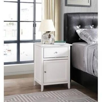 Izzy 1-drawer and Cabinet Wooden Nightstand