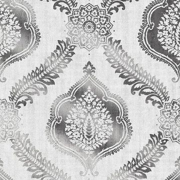 Kenneth James Zoraya Silver Damask Wallpaper
