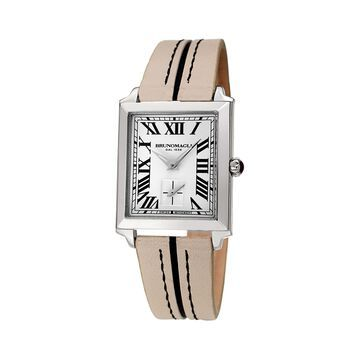 Valentina 1064 Rectangular Stainless Steel & Leather-Strap Watch