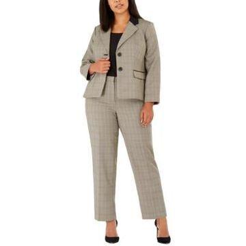 Le Suit Plus Size Plaid Print Pantsuit