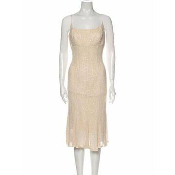 Square Neckline Midi Length Dress